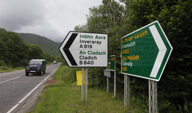 SIGN OF THE TIMES: Bilingual directions on the A85 near Dalmally, Argyll and Bute. Picture: Colin Mearns