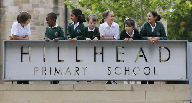 Pupils from Hillhead Primary School, in Glasgow, where inspectors found a