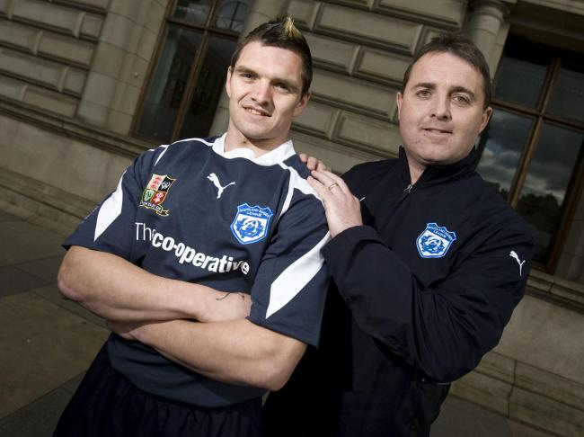 Scotland's rugby league team manager Steve McCormack, right, with captain Danny Brough