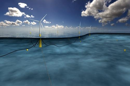 An artist's impression of the Hywind floating wind farm