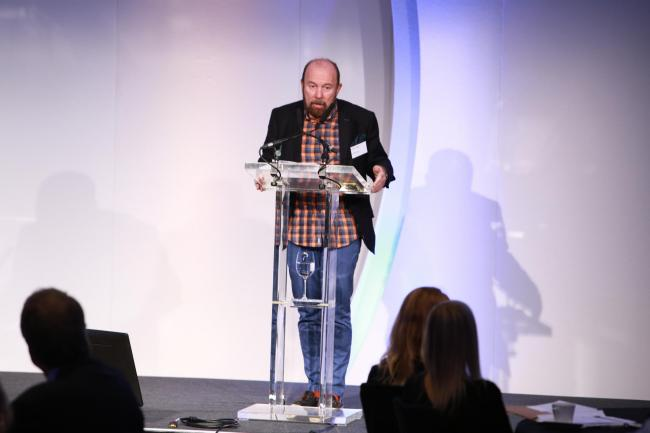 Sir Brian Souter speaking at the ICAS conference in Glasgow.