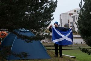 Holyrood protest camp 'will remain until Scotland wins independence'