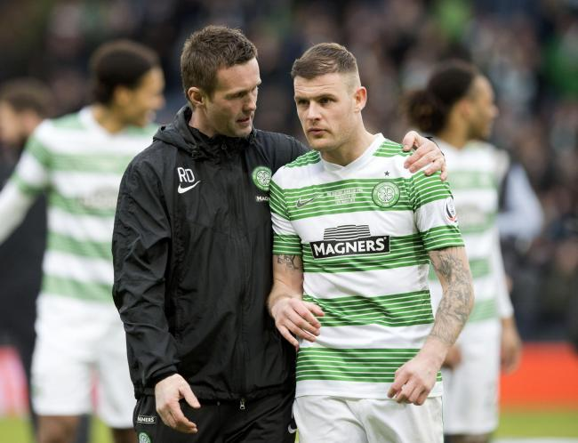 Celtic manager Ronny Deila and Anthony Stokes after the League Cup final at Hampden back in March.