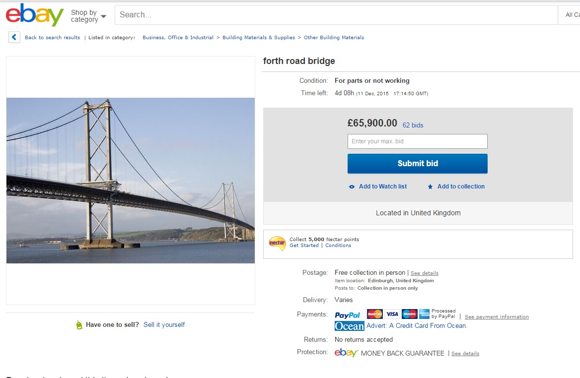 Prankster Puts The Forth Road Bridge Up For Sale On Ebay In Lcr Parts Or Not Working Section Heraldscotland
