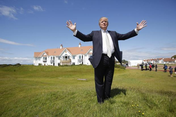 HeraldScotland: Donald Trump at Trump Turnberry Clubhouse in Ayrshire
