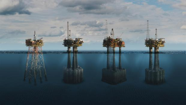 HeraldScotland: A CGI of the Brent oil platforms off the Shetlands