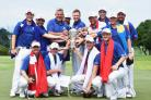 KUALA LUMPUR, MALAYSIA - JANUARY 17:  The team of Europe together with captain Darren Clarke celebrate with the trophy after winning the EurAsia Cup presented by DRB-HICOM at Glenmarie G&CC on January 17, 2016 in Kuala Lumpur, Malaysia..  (Photo by Stuart