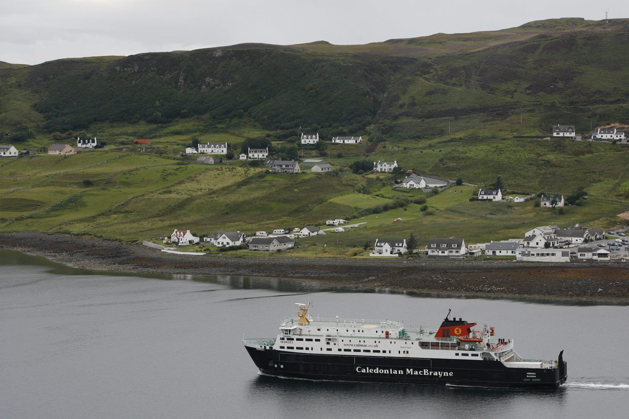 The CalMac ferry sailing out of Uig on Skye heading for Lochmaddy on North Uist..