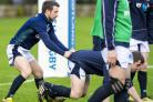 25/01/16   .  ST ANDREWS .  Scotland's Greig Laidlaw (left) and Mark Bennett in training. (53652462)