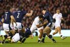 England's Billy Vunipola on the charge against Scotland. Picture: Getty