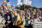People protest in front of the government building, in the Square of the Big National Assembly, in Chisinau, Moldova, 04 October 2015. Thousands of people attended a protest on 06 September demanding the dismissal of several public servants, the president
