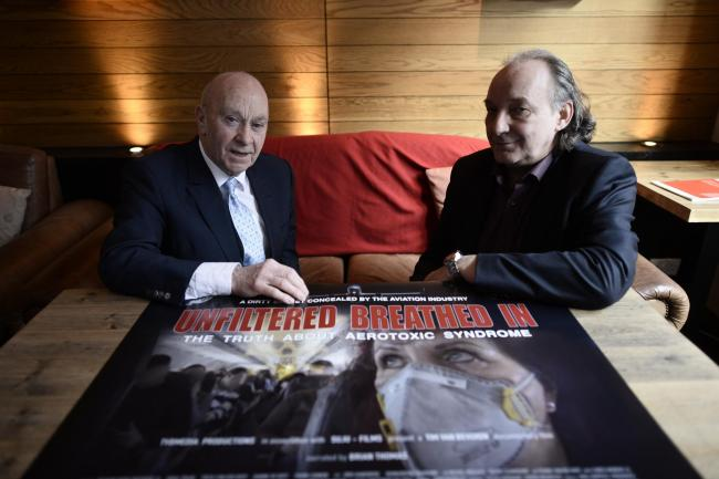 "Filmmaker Tim van Beveren (right) and Aviation Specialist Frank Cannon at the press preview screening of ""Unfiltered Breathed In"" on January 27, 2016, ahead of the film's UK premiere in Glasgow"