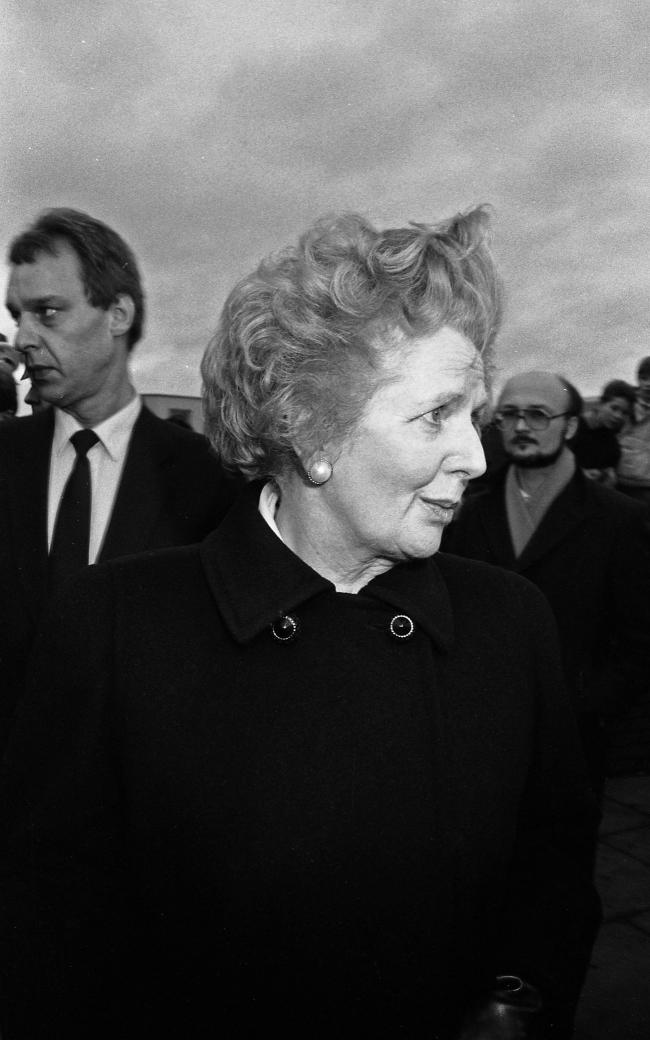 Margaret Thatcher outside Lockerbie police station the day after Pan Am 747 flight 103 exploded over Lockerbie (Colin Mearns)