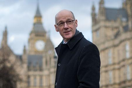HeraldScotland: Deputy First Minister of Scotland John Swinney in Westminster after meeting with Chief Secretary to the Treasury Greg Hands (Stefan Rousseau/PA Wire)