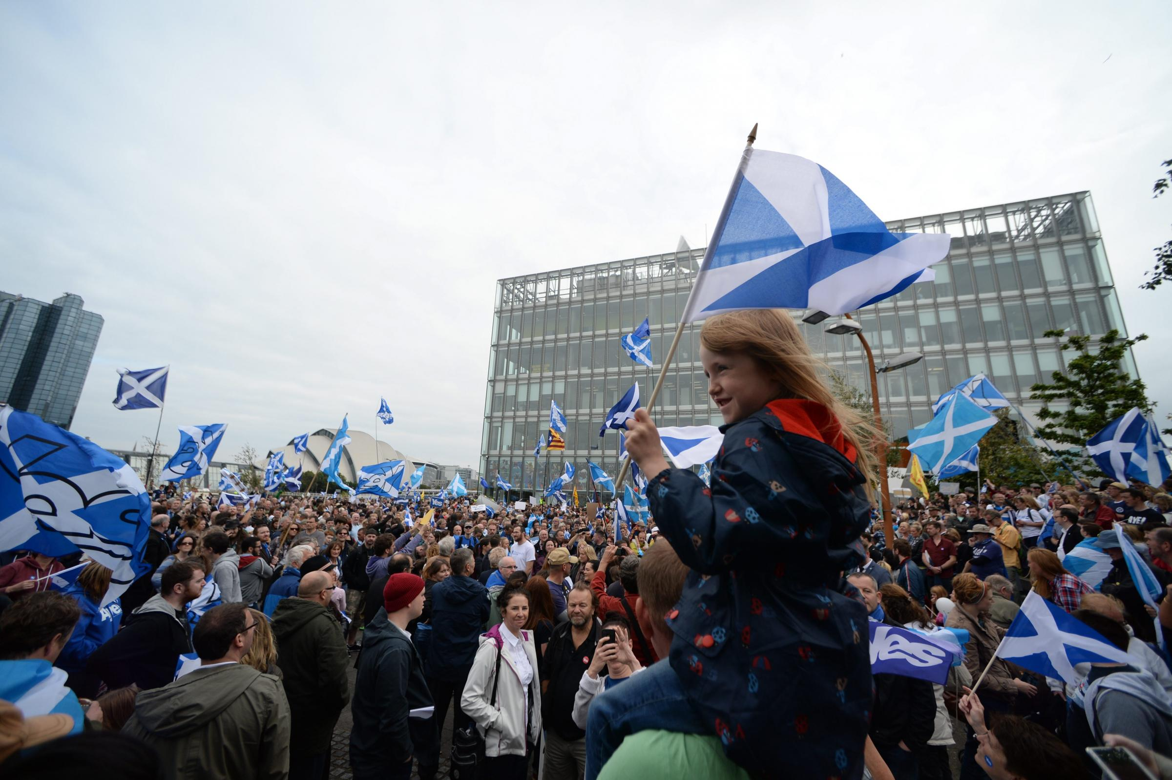 Picture Nick Ponty 14/9/14Scottish ReferendumThousands of Yes campaigners  march through Glasgow to the BBC Scotland Headquarters at Pacific Quay