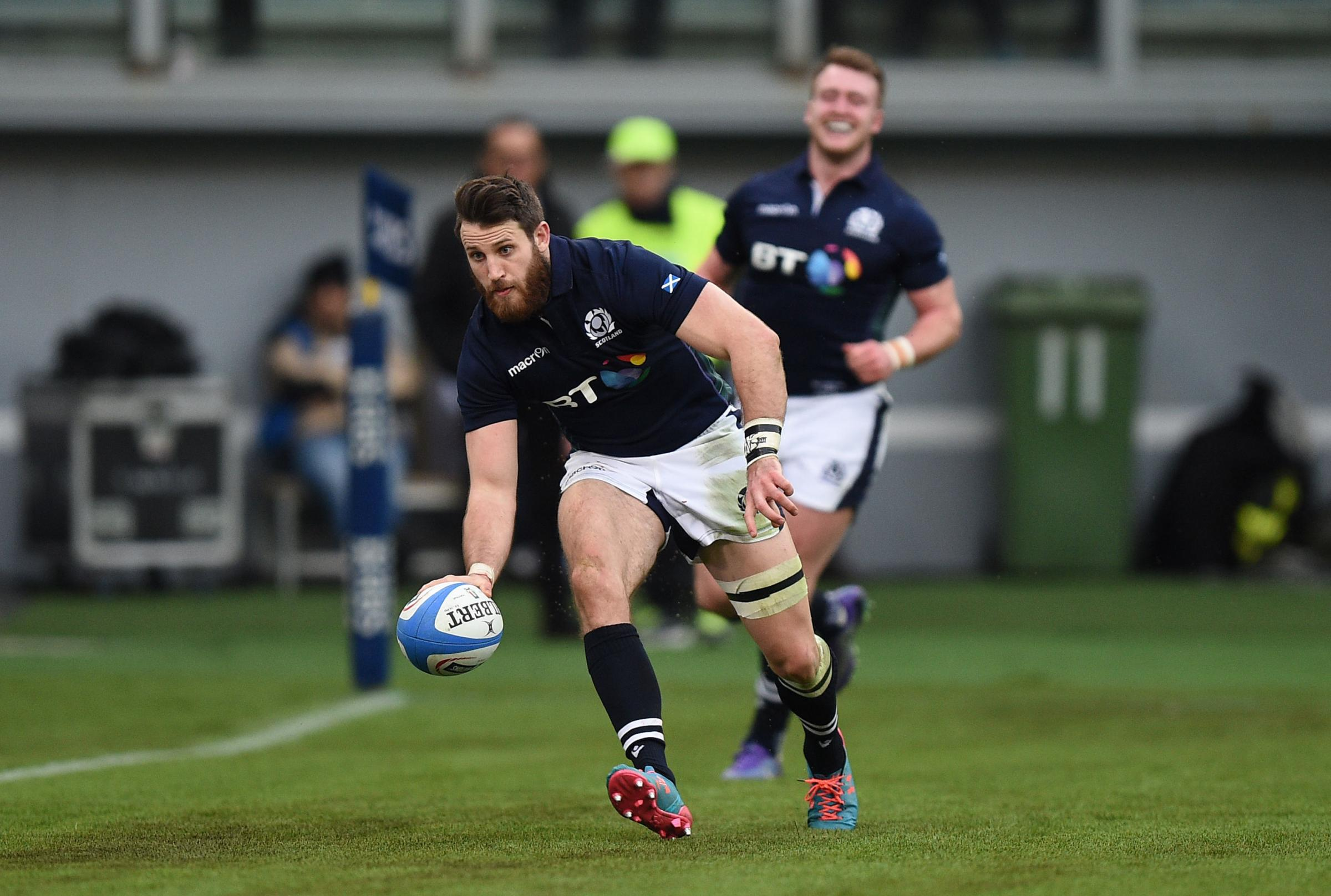 Tommy Seymour scores Scotland's third try against Italy. Picture: PA