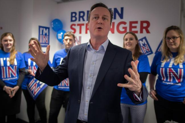 Prime Minister David Cameron addresses workers and activists at the Britain Stronger In Europe campaign headquarters in London, ahead a referendum on Britain's membership of the EU. Photo credit: Stefan Rousseau/PA Wire