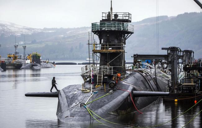 Vanguard-class submarine HMS Vigilant, one of the UK's four nuclear warhead-carrying submarines, at HM Naval Base Clyde, also known as Faslane