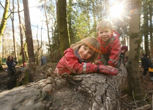 HeraldScotland: Care inspectorate My World Outdoors resource launch at the Woodland Outdoor Kindergarten in Pollok Country park, Glasgow. Pictured are Ruben Millard age 3, left and Oliver Mason age 4...   Photograph by Colin Mearns.9 MARCH 2016.