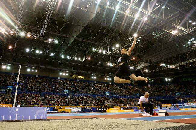 Greg Rutherford competes at Birmingham's Barclaycard Arena