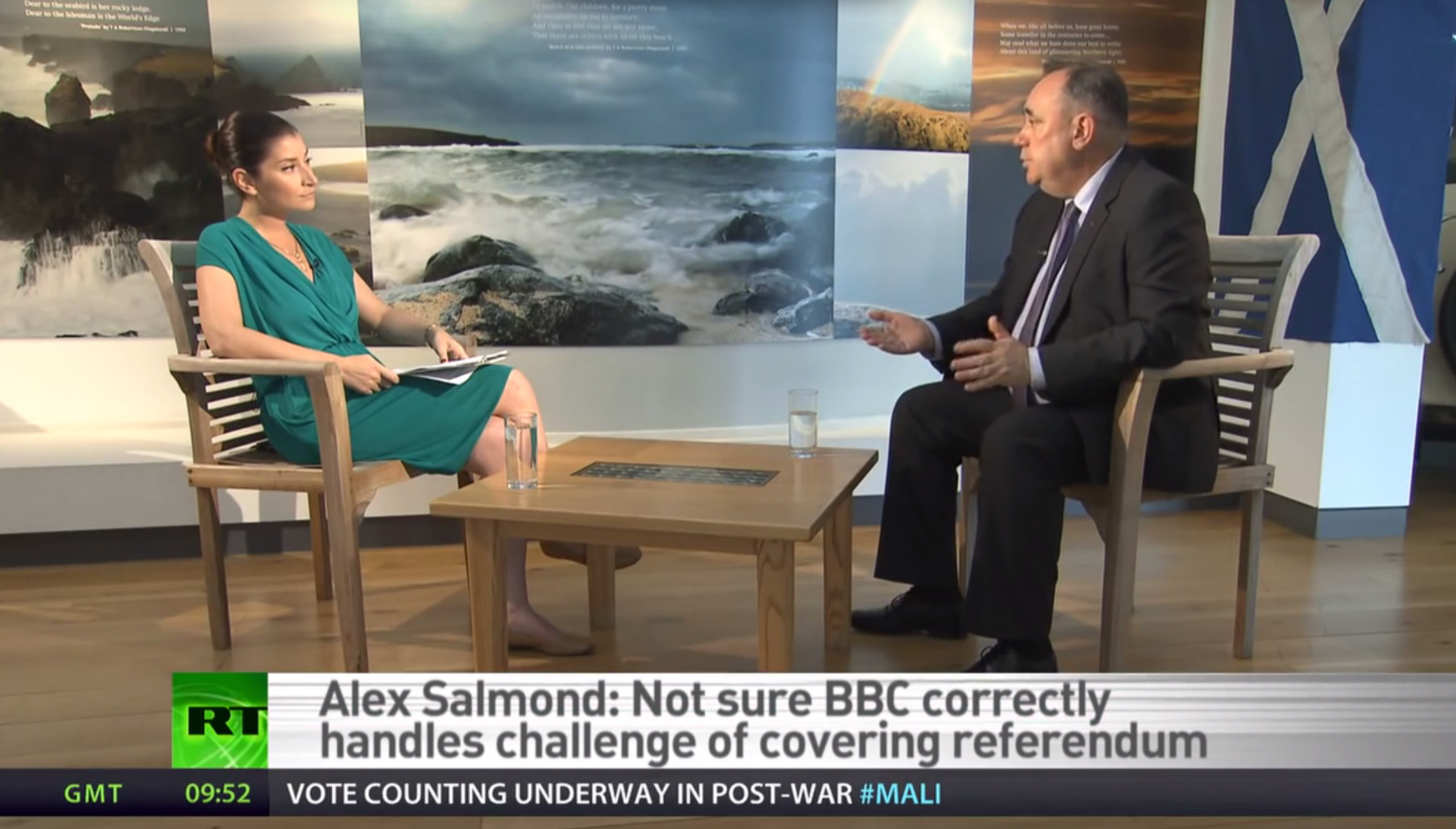Alex Salmond being interviewed by Sophie Shevardnadze on Russia Today in 2013.