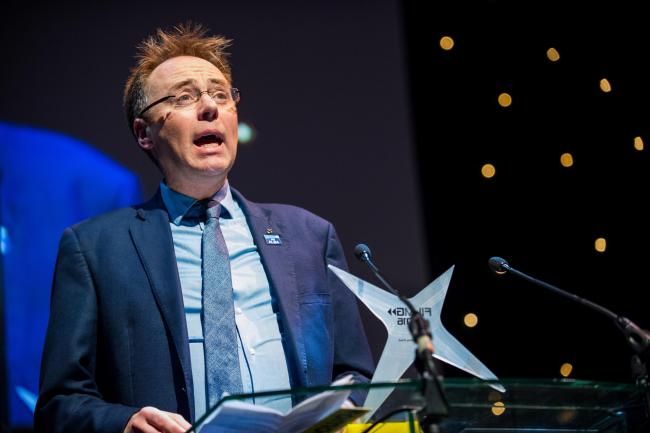 FilmG Awards 2016 - Fruitmarket, Glasgow Picture Shows; Alasdair Allan, Minister for Learning, Science and Scotland's Languages during his speech at the start of FilmG awards ceremony, Fruitmarket, Glasgow, Friday , 19 February 2016.   Stuart Nicol Photog