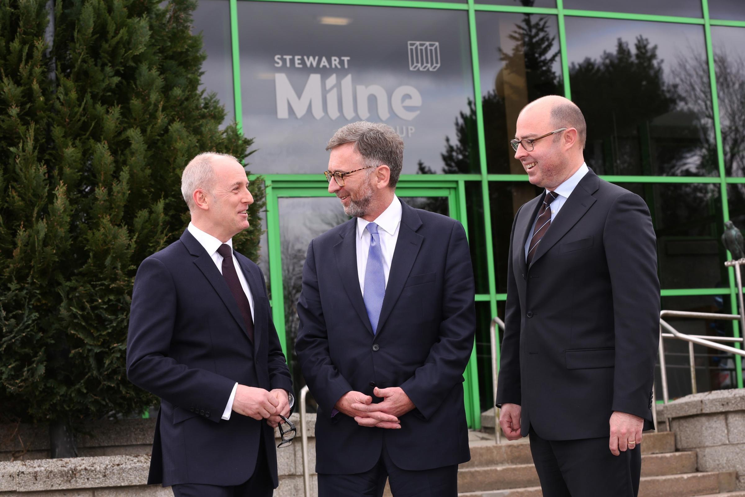 John Slater, Lord Dunlop and Stuart MacGregor, group finance director, Stewart Milne Group