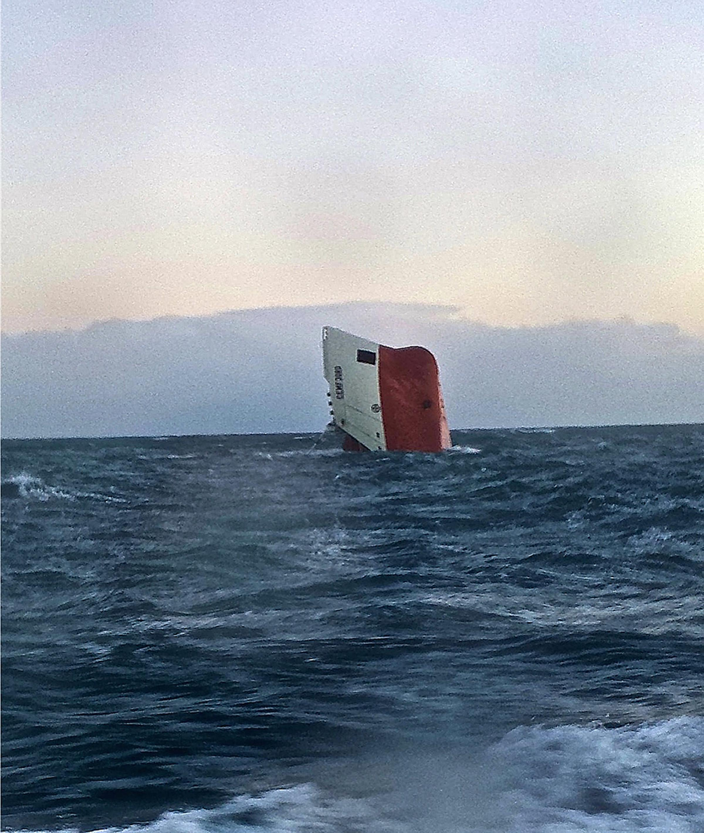 Cemfjord cargo ship pictured on January 3 2015 after it overturned off the north coast of Scotland