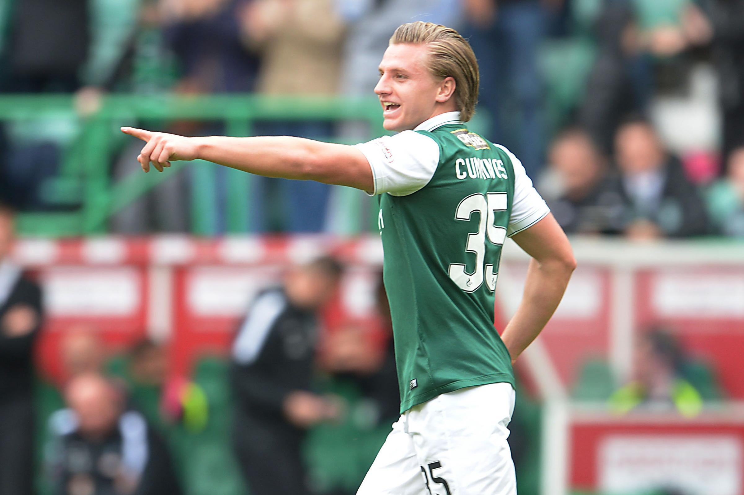 01/05/16 LADBROKES CHAMPIONSHIP .  HIBERNIAN V QUEEN OF THE SOUTH .  EASTER ROAD STADIUM - EDINBURGH .  Hibernian's Jason Cummings celebrates after scoring his side's second goal.