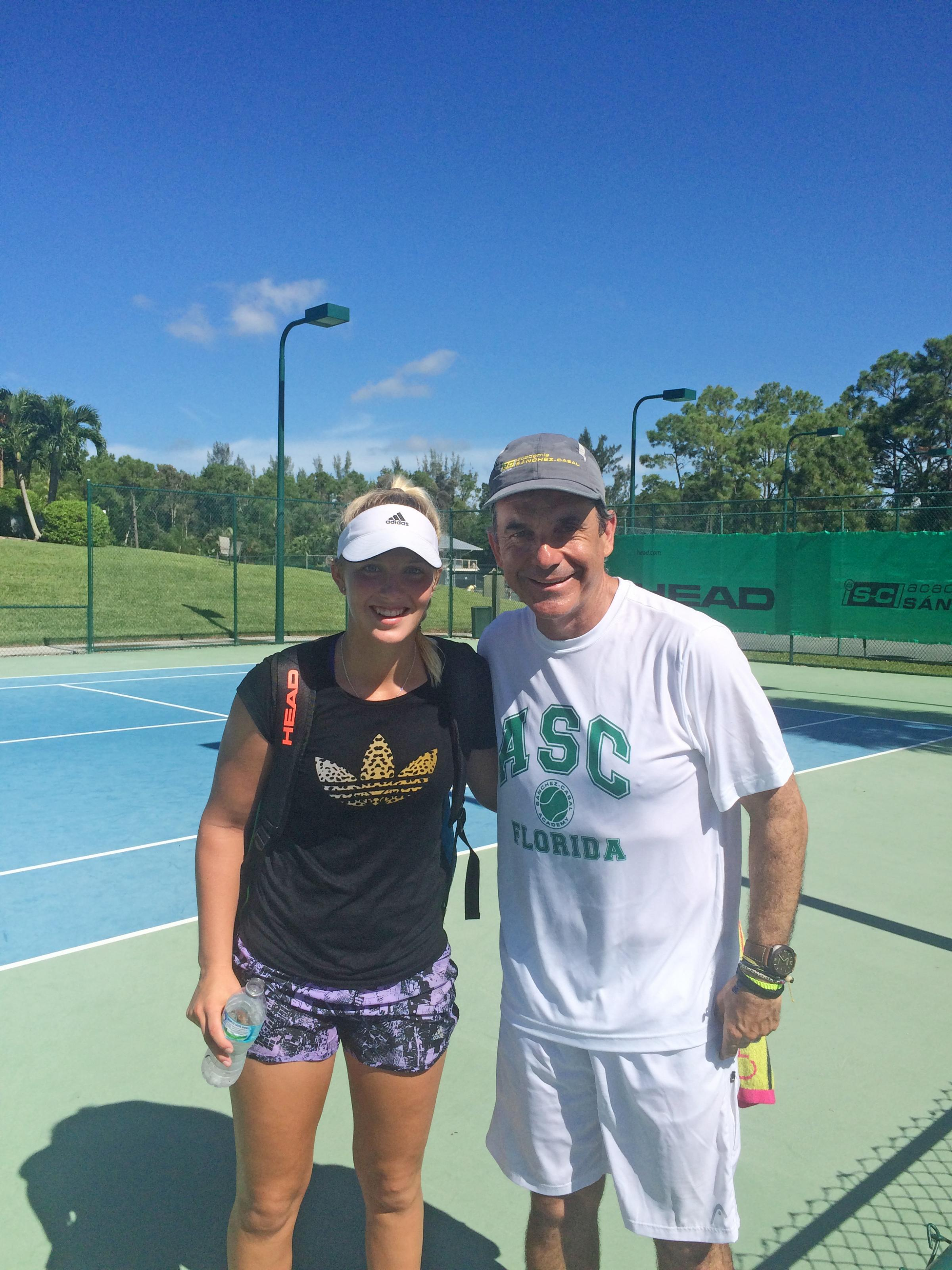 Talented Dunblane tennis teenager Ali Collins with Emilio Sanchez in Florida. Picture: Collins family