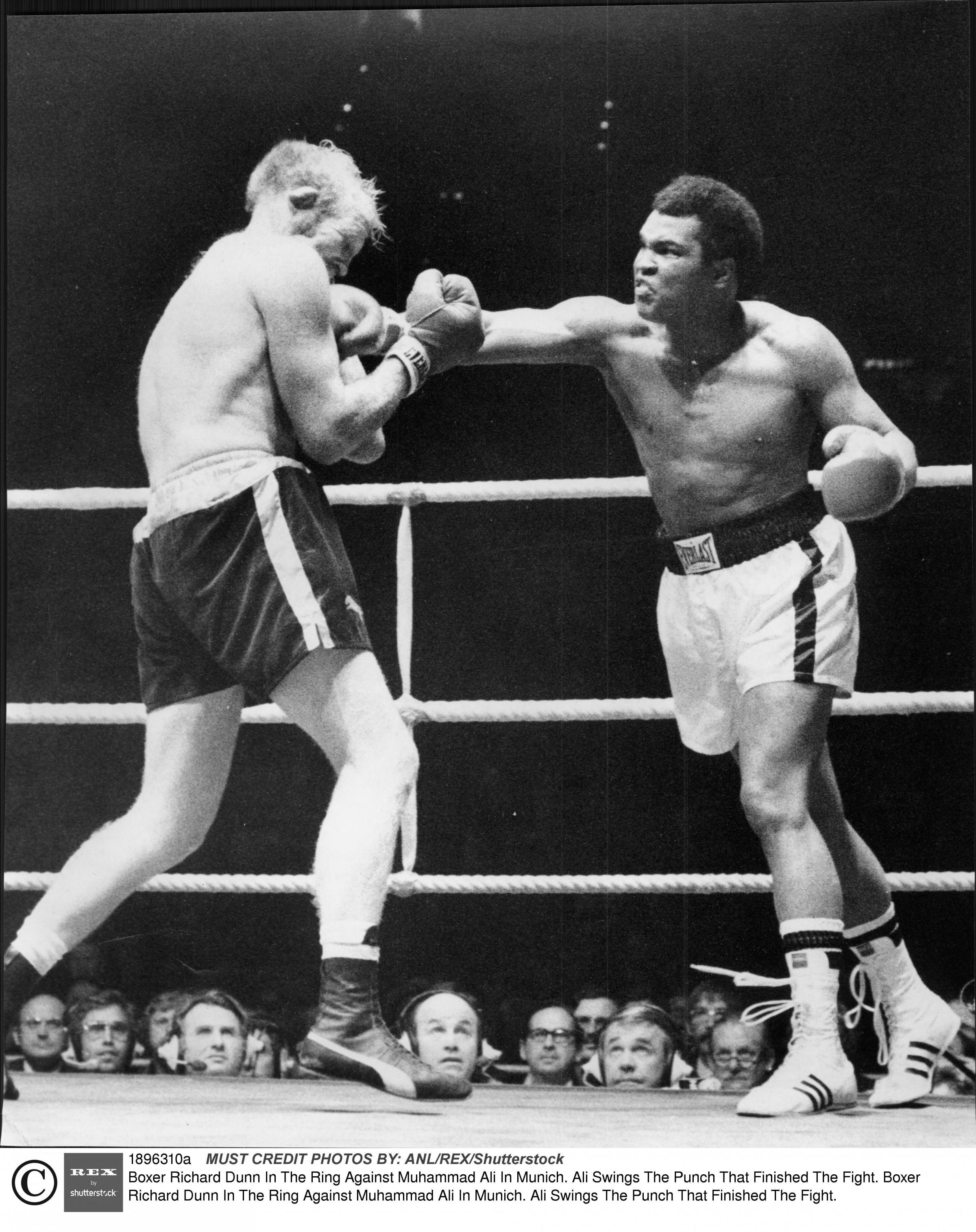 Mandatory Credit: Photo by Jim Hutchison/ANL/REX/Shutterstock (1896310a) Boxer Richard Dunn In The Ring Against Muhammad Ali In Munich. Ali Swings The Punch That Finished The Fight. Boxer Richard Dunn In The Ring Against Muhammad Ali In Munich. Ali Swings