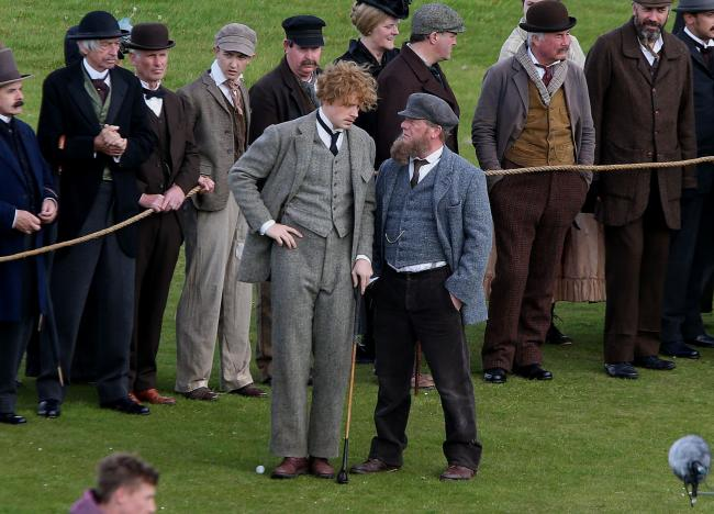 Jack Lowden as Young Tom Morris and Peter Mullan as Old Tom Morris  during filming for biopic Tommy's Honour at Winterfield  Golf Course in East Lothian thursday. The course is doubling for among others the Old Course and is directed by Jason Connery