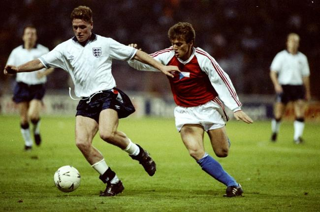 Czechoslovakia's Lubomir Moravcik, right, challenges Paul Gascoigne of England in 1990
