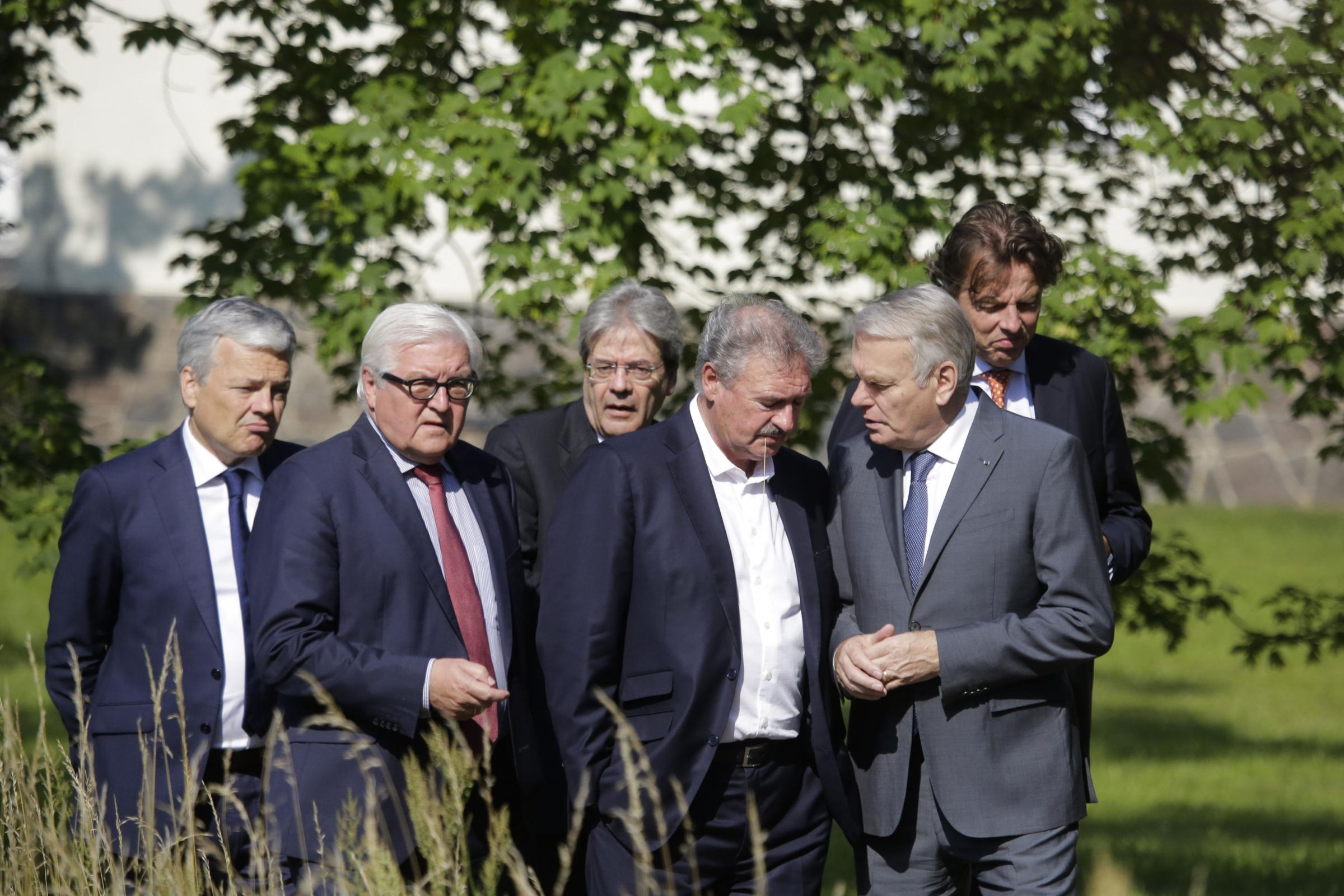 Foreign Ministers from EU's founding six, from left to right,  Didier Reynders from Belgium, Frank-Walter Steinmeier from Germany, Paolo Gentiloni from Italy, Jean Asselborn from Luxembourg, Jean-Marc Ayrault from France and Bert Koenders from the Net