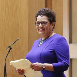 HeraldScotland: Makar Jackie Kay reads a poem during the opening of the fifth session