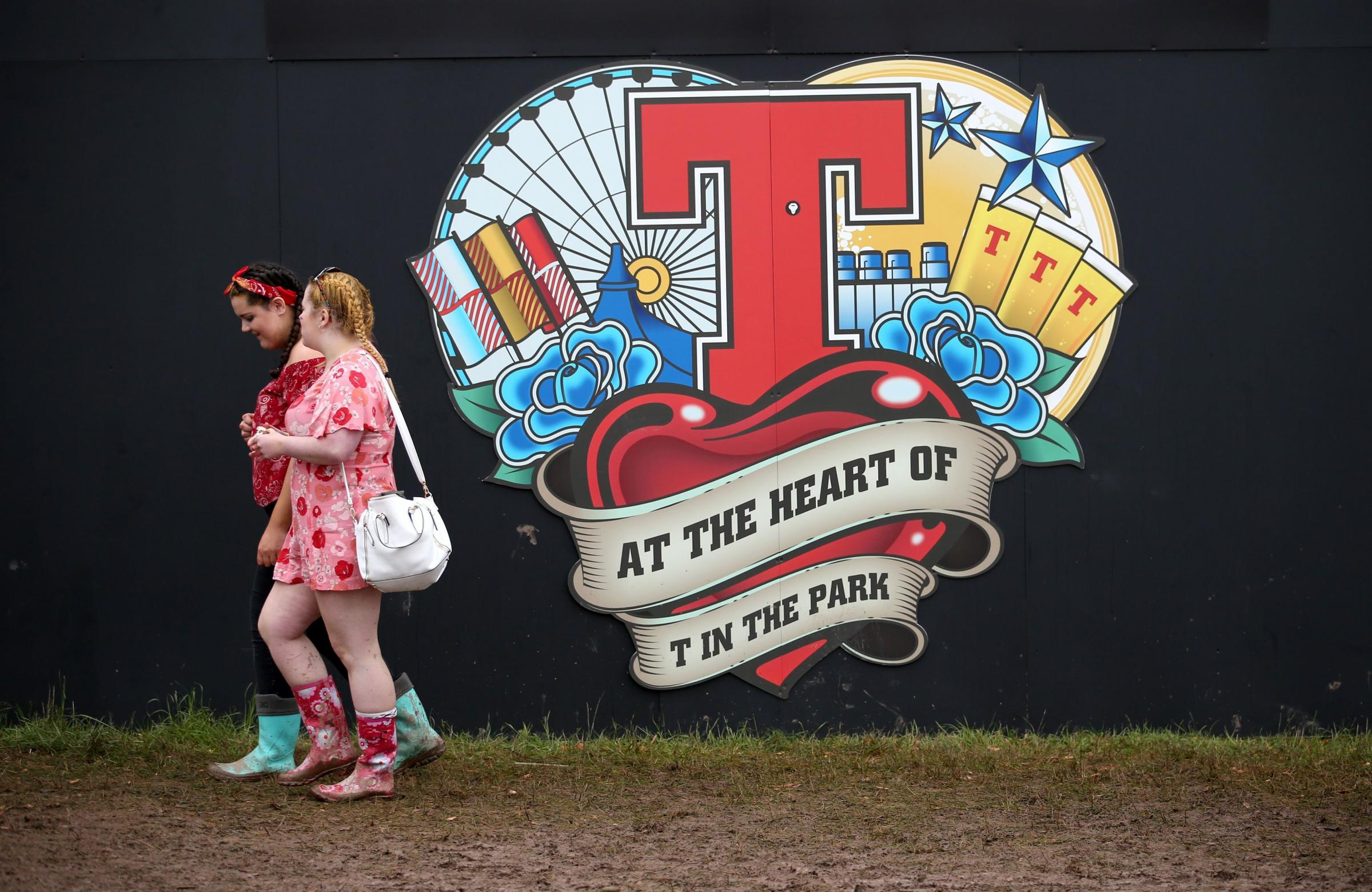 Festivalgoers during the second day of T in the Park, the annual music festival held at Strathallan Castle, Perthshire. PRESS ASSOCIATION Photo. Picture date: Saturday July 9, 2016. Photo credit should read: Jane Barlow/PA Wire.