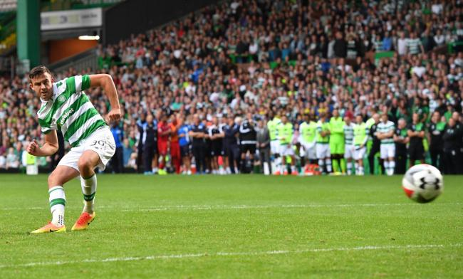 Eoghan O'Connell scores for Celtic in the penalty shoot-out against Leicester City at Parkhead on Saturday.
