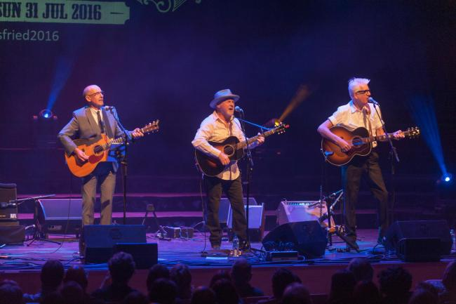 Andy Fairweather Low, Paul Carrick & Nick Lowe at Southern Fried Festival, Perth's Festival of American roots music, Perth, Scotland 31 July 2016Picture by marc marnieWORLD RIGHTS