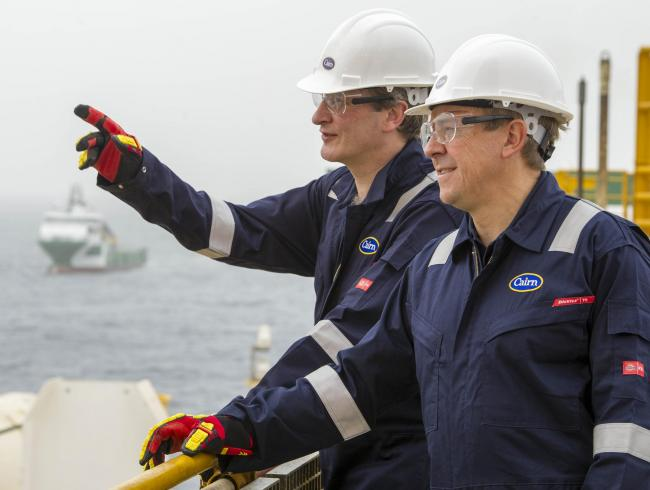 Cairn Energy chief executive Simon Thomson and chairman Ian Tyler inspect drilling operations off Senegal