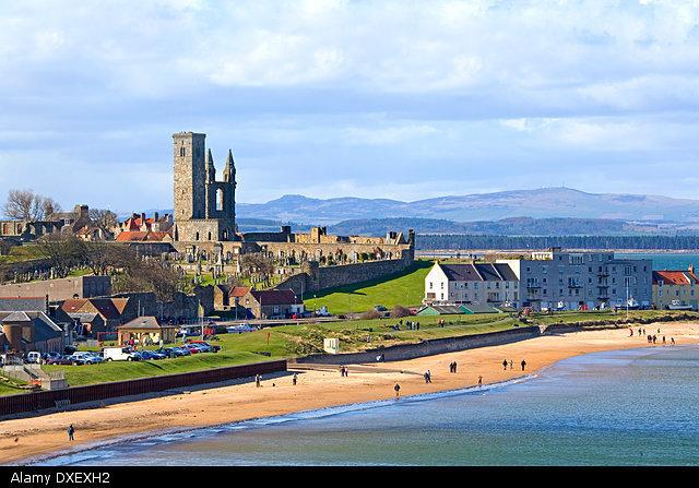 St Andrews beach, harbour and Cathedral, Fife.