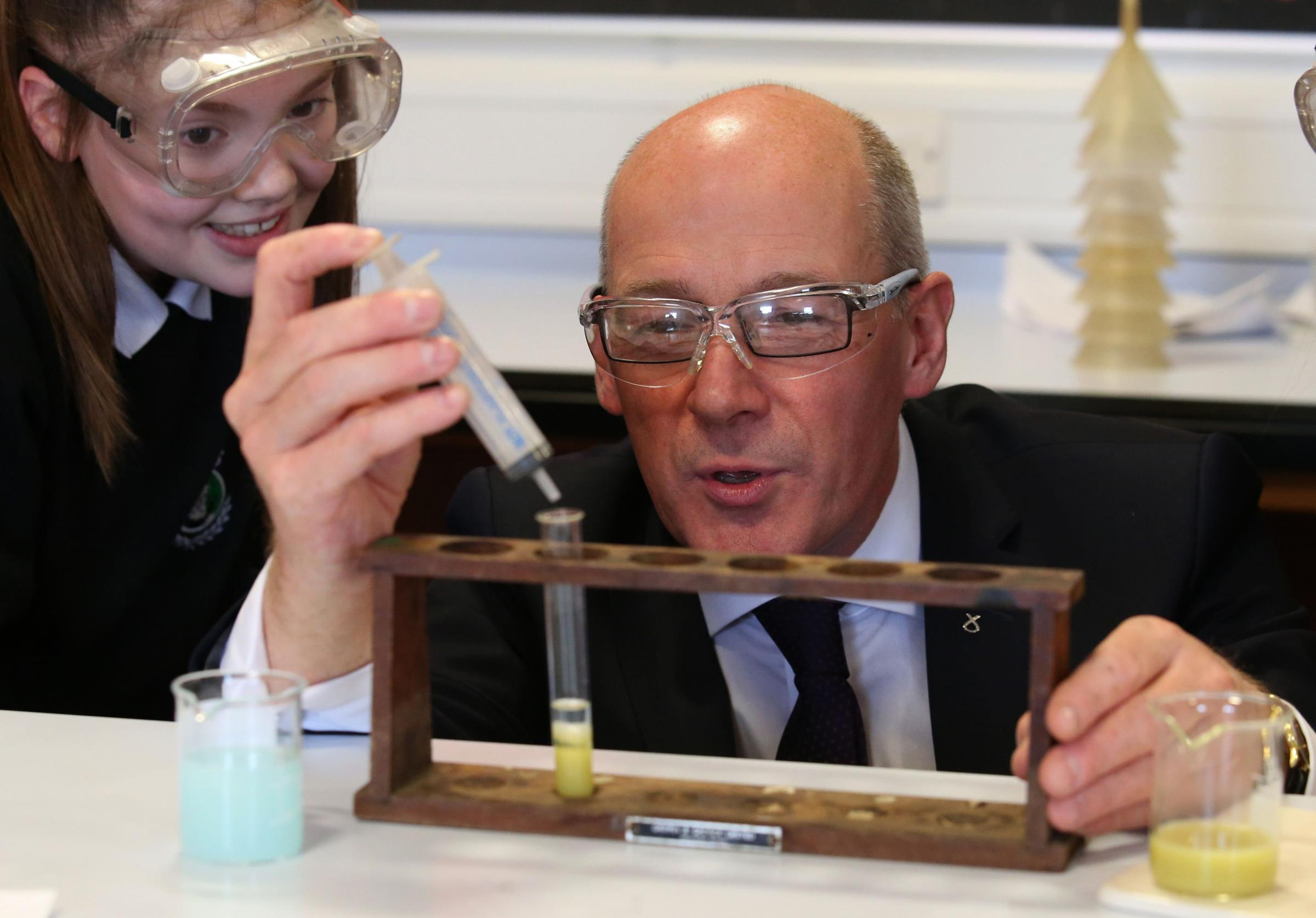 John Swinney on a visit to his former school, Forrester High in Edinburgh, May 2016