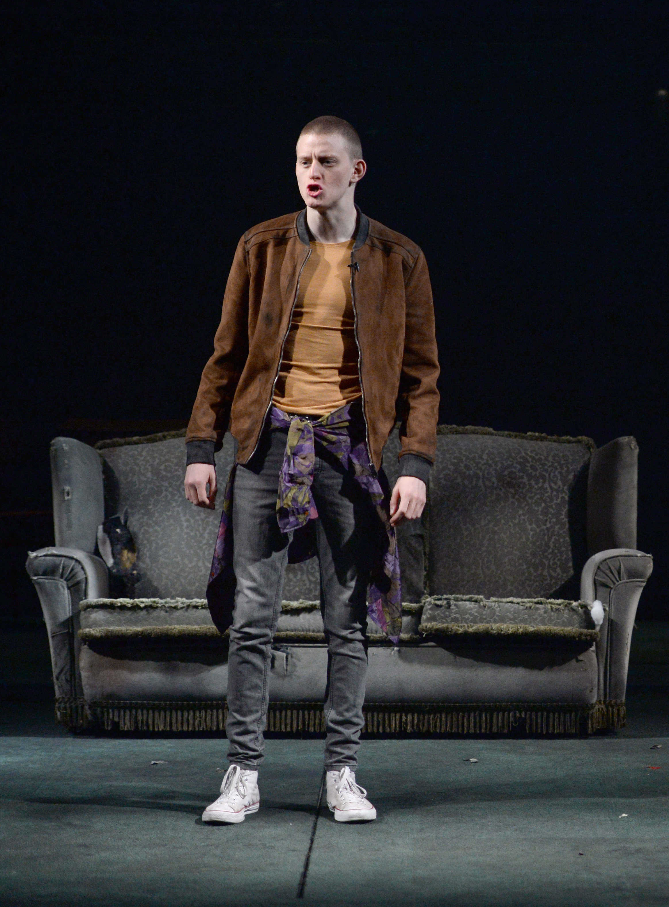 Lorn MacDonald (Renton) rehearse a scene in a brand new production of Trainspotting which opens at the Citizens Theatre in Glasgow on Friday, September 16, 2016. Irvine Welsh's Trainspotting began its life in the Citizens Theatre 20 years ago, with th