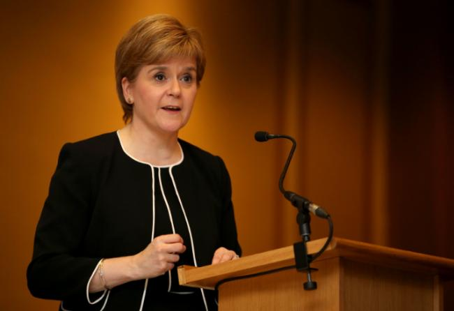 First Minister Nicola Sturgeon delivers a speech during the Journalists' Charity lunch in Glasgow. PRESS ASSOCIATION Photo. Picture date: Friday September 23, 2016. See PA story POLITICS EU. Photo credit should read: Jane Barlow/PA Wire