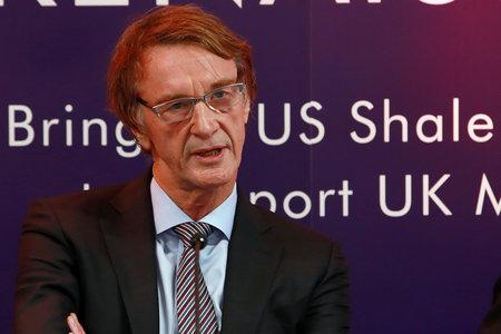 HeraldScotland: INEOS 1 SA :  INEOS Founder and Chairman Jim Ratcliffe holds a press conference at their Grangemouth office, as the First US shale gas arrives in the UK. The Ineos Insight gas carrier arrives at Grangemouth with the first shipment in a 'virtual pipeli