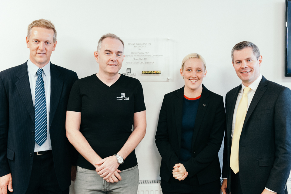 John McGlynn (second from left) at the opening of the Paisley WorkSpace, with Rennie Schafer, Self Storage Association UK chief executive, Mhairi Black MP and Derek Mackay MSP, Scottish Cabinet Secretary for Finance and the Constitution. Photograph: Kris