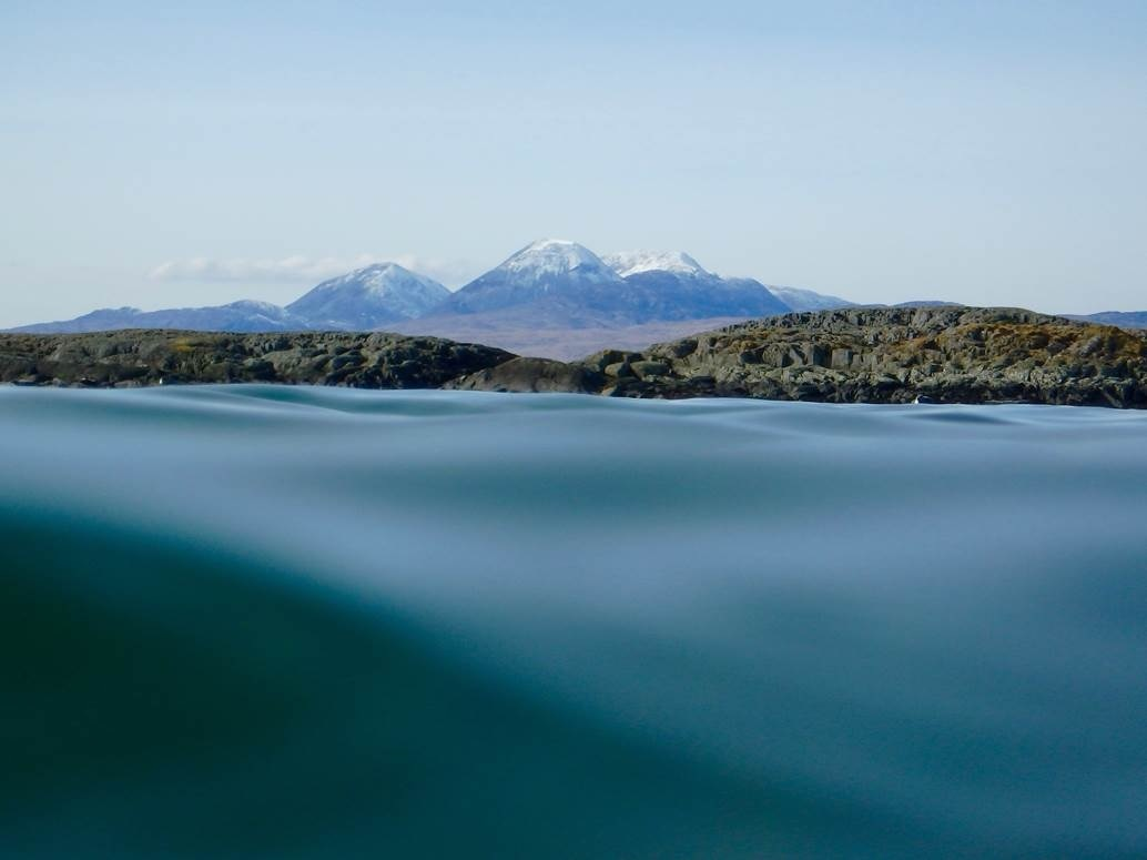 Royal Bank of Scotland photography competition  Paps of Jura from a swimmer's eye view.