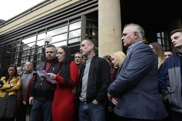 HeraldScotland: GLASGOW, SCOTLAND - OCTOBER 12: Pamela Munro, the mother murdered teenager Paige Doherty, reads a statement to the press following the sentencing of John Leathem for the death of Paige Doherty in Clydebank on 19 March 2016, taken outside the High Court on