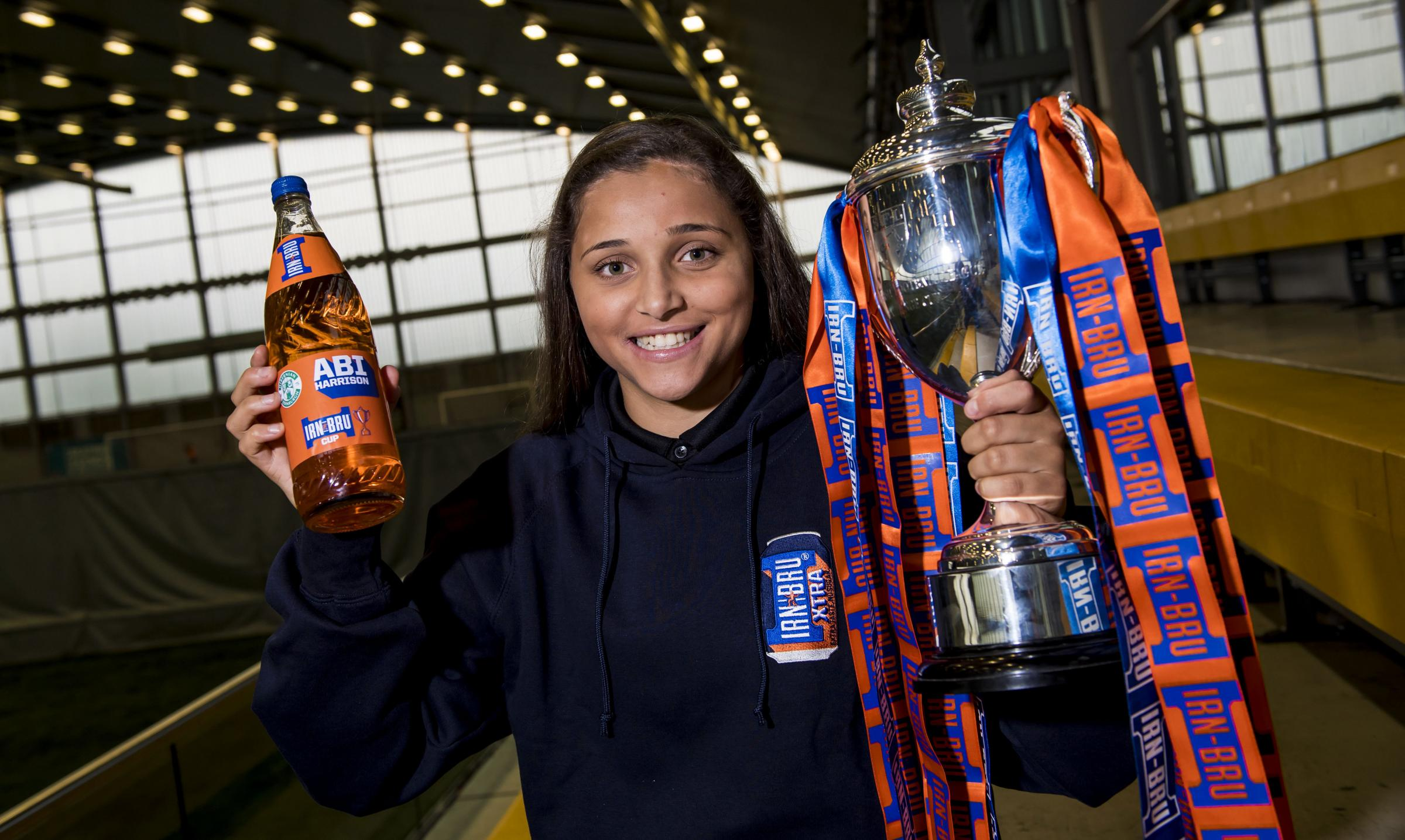 Hibernian Ladies' Abi Harrison helped make the draw for the Irn-Bru Cup