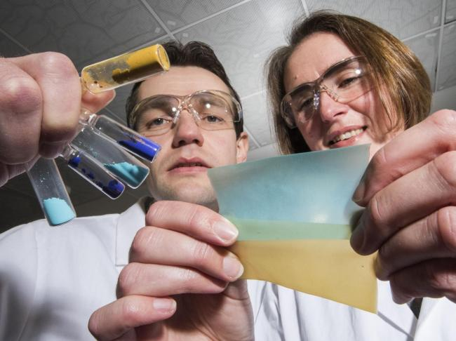 Dr Morven Duncan and Dr Stewart Warrender in the MOFgen development lab in the School of Chemistry at the University of St Andrews. Photo: Alan Richardson