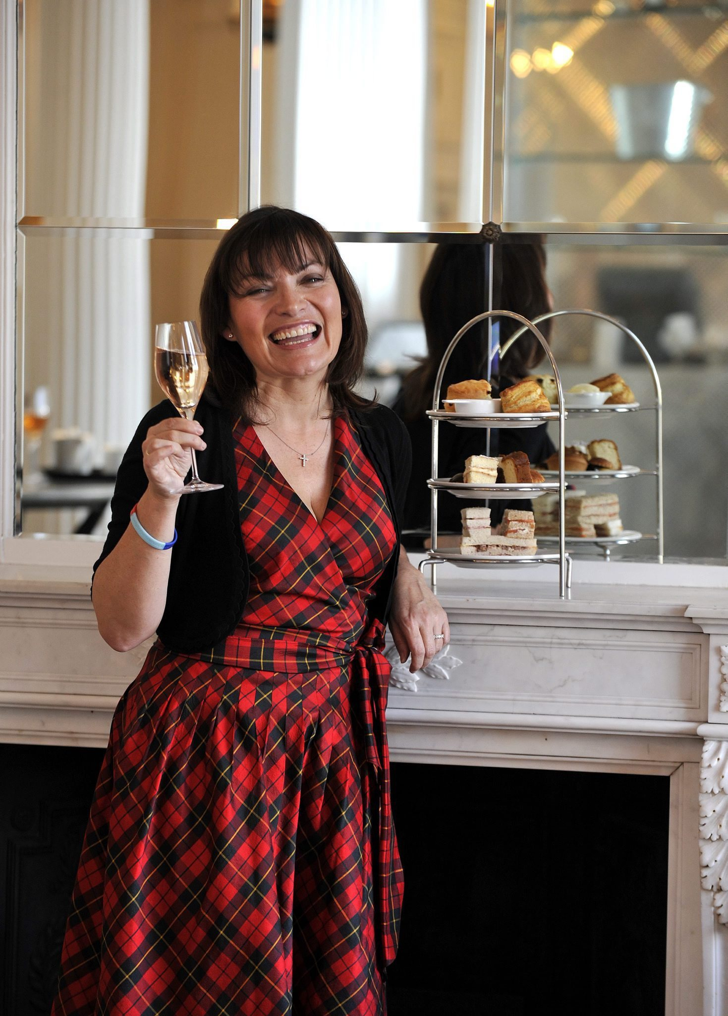 Lorraine Kelly has high tea at the Salon, Blythswood Square Hotel..